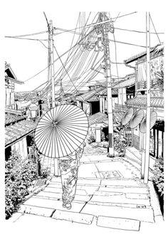 VIEWS OF JAPAN DRAWING SERIES by parisian samurai, via Behance