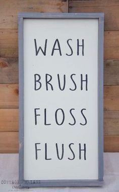 Bathroom Wash/Brush/Floss/Flush Sign Hand Written Font with Grey Frame