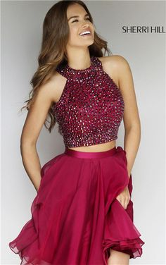 bandeau halter two piece beads short homecoming dresses 2015 sherri hill 11290