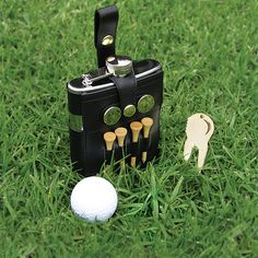 Golfer's Flask - 8 oz. Bar Tools, Bar Accessories, Wineries, Flasks, Leather Case, Markers, Black Leather, Handsome, Tees