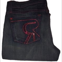 Rock and Jepublic jeans Red crystals red stitching. Brand new never worn. Rock & Republic Jeans
