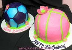 Sporty Girls Basketball & Soccer Cakes By Sugar Kneads Cakery #sugarkneadscakery