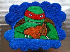 Pastel de panquecitos de tortuga ninja / Ninja turtle cake.