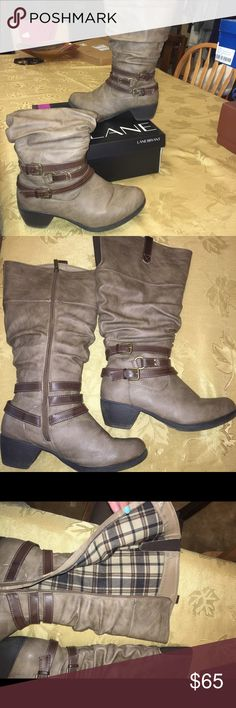 Tan wide calf boots Lane Bryant tan leather wide calf boots. Very comfy. Fit 18 inch calfs maybe 18.5 only worn a couple times in great condition. Lane Bryant Shoes Heeled Boots
