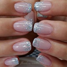 In search for some nail designs and some ideas for your nails? Here is our listing of must-try coffin acrylic nails for modern women. Glitter Tip Nails, Cute Acrylic Nails, Glitter French Manicure, Glitter Wedding Nails, Silver Sparkle Nails, French Manicure Designs, Glittery Nails, French Manicure With Glitter, Black Nails With Glitter