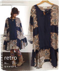 Rakuten: (dark blue) I. I like old things. I adore this paisley print. So nostalgic and feminine.  ガ - ル-