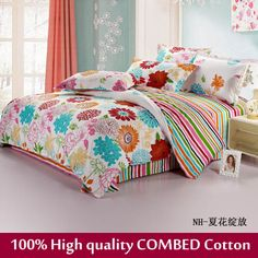 Home Textile,flower print reactive 100% cotton 4pc comforter set king size bedcltohes adults & baby bedding set free drop ship $130.99