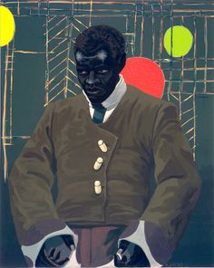 Kerry James Marshall's portrait of the actor Hezekiah Washington as Julian Carlton, who committed a mass murder at Frank Lloyd Wright's estate Taliesin in 1914.