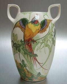 """Rozenburg, Den Haag, """"Eggshell"""" Porcelain vase, painted by C.W.J. 't Hart, 1914."""