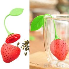 B52K CUTE STRAWBERRY SILICON TEA LEAF STRAINER HERBAL SPICE TEA INFUSER FILTER #Eroute66UK
