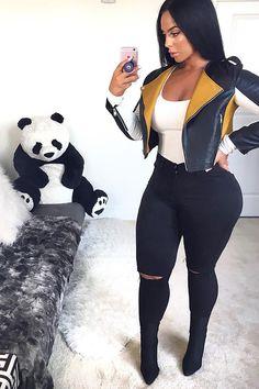Fashion Nova Black Canopy Jeans on Mercari Moda Outfits, Swag Outfits, Fall Outfits, Cute Outfits, Fashion Outfits, Jeans Fashion, Short Outfits, Casual Outfits, Black Women Fashion