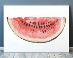 Watermelon Art Print Watercolor Painting Art by CanotStopPrints