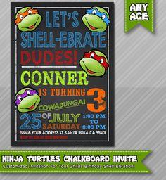 Ninja Turtles Invitation TMNT Invite Chalkboard by WolcottDesigns