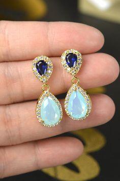 Mint aqua Blue EarringsSomething Blue Peacock by ThePeachMambo