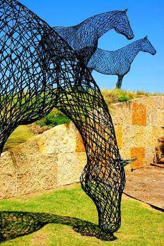 Steel horses sculpture   #Cowgirl #Art #CowgirlArt #Horse #HorseArt   http://www.islandcowgirl.com/