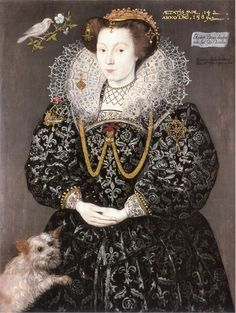 Hieronimo Custodis ~ Elizabeth Brydges (ca.1574-1617) (and dog) ~ 1589 ~ Maid of Honor to Elizabeth I ~ Hieronimo Custodis was a Flemish portrait painter active in England in the reign of Elizabeth I. A native of Antwerp, Custodis was one of many Flemish artists of the Tudor court who had fled to England.