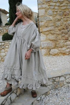 634 Dress Gwennaelle natural linen  very elaborate with many details ...