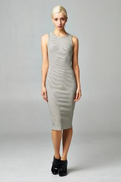 Simple, striped bodycon dress in ribbed fabric that looks great on every body. Made in USA. www.cherishusa.com www.fashiongo.net/cherish