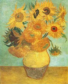 Vaso com 12 girassóis. É o vaso mais famoso. Um dos quadros mais conhecidos. (janeiro de 1889)