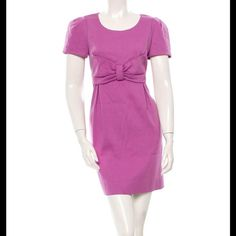 """See by Chloe dress Purple See by Chloé short sleeve dress with round neckline, empire waist featuring bow at center, dual pockets at sides and concealed zip closure at center back. Condition: Very Good. Light wear to fabric. Measurements: Bust 34.5"""", Waist 34"""", Hip 42"""", Length 34"""" Fabric Content: 57% Cotton, 28% Virgin Wool; 15% Nylon; Lining 59% Acetate, 41% Viscose Designer: See by Chloé See by Chloe Dresses"""