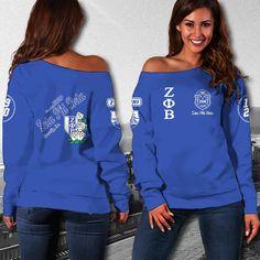 ZETA PHI BETA WOMEN'S OFF SHOULDER SWEATER 17122019 - Masonstars Zeta Phi Beta, Off Shoulder Sweater, Custom Made, Graphic Sweatshirt, Stylish, Sweatshirts, Sweaters, Amazon, Etsy