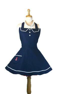 Navy/Sailor Retro Apron Sweetheart Apron Womens by enchiladamama, $37.50