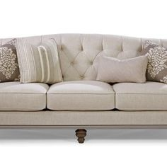 Paula Deen Home Collection by Craftmaster Furniture. Blend Down Sofa with tufting and ribbon detail trim. P744950BD