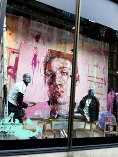 Harvey Nichols window display for menswear spring 2013 – a collaboration with artist Andrew Saldago
