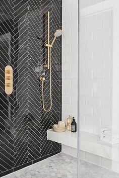 High-End Herringbone - 16 Showers That Give Us Serious Bathroom Envy - Photos