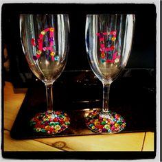 Rhinestone wine glasses made by Ashton Willis --- 1st Pinterest craft