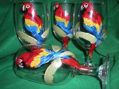 Hand painted parrot in palm tree. set of 4 ice teas.. $20.00, via Etsy.