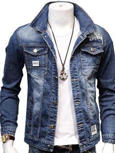 Herren Jeansjacke 2019 Neu Trends Slim Stickerei Denim Jacke Mantel Größe M-3XL