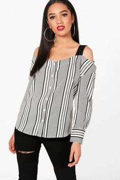 boohoo Petite Jess Contrast Stripe Cold Shoulder Blouse~CLICK TO BUY~