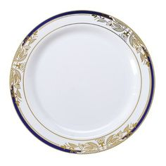 """White Plastic Plates 10/"""" Extra Strong with Gold Rim Pack of 20"""