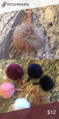 Large Tan pom pom fur ball real rabbit hair soft NWOT! Brand new!! Real Rabbit fur, PU Leather                           plush & great quality.  Gold hardware, clip ring  Size: (approx) Ball Diameter = 10cm (L)  ❤︎ give 1-2cm difference due to manual measurement  ** color might be slightly different cause of the lighting  Great for your Louis Vuitton, Prada, Fendi, Chanel, Michael Kors, Gucci, Coach Tory Burch, Kate spade, Marc jacobs, Victoria's Secret, Forever 21, Nine west, Urban…