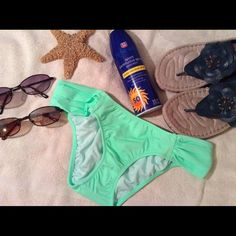 VS Knock Out Bikini Bottom Sexy soft green bikini bottom. 80% polyamide. 20% elastane. Hygienic liner still in place. Item photographed and replaced in package. Victoria's Secret Swim Bikinis