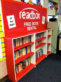 Redbox 'READBOX' Bookshelf for the classroom. From Marci Coombs' Blog