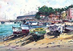 Landscape Painting Watercolour Original Italy Seascape Boat Sorrento Port 15x11i #RealismImpressionism