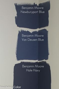 Benjamin Moore navy paint color ideas It was between Newburyport Blue and Van Deusen Blue. decided on Van Deusen Blue. I really wanted a good, dark navy wall, but I didn?t want the room to be too cave like, and the room will have a couple pieces of espr Navy Paint Colors, Interior Paint Colors, Nautical Paint Colors, Blue Wall Colors, Dining Room Paint Colors, Room Wall Colors, Kitchen Colors, Bedroom Colors, Kitchen Ideas