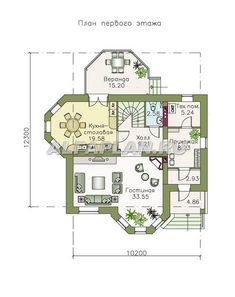 """🏠 """"Классика""""- двухэтажный особняк с эркером: цены, планировка, фото. Купить готовый проект House Layout Plans, House Layouts, Catalog, Floor Plans, House Design, How To Plan, Building, Villa, Home"""