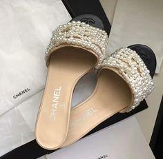 Cute Sandals, Shoes Sandals, Sock Shoes, Shoe Boots, Unique Wedding Shoes, Pearl Sandals, Chanel Shoes, Chanel Slippers, Kinds Of Shoes