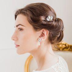 Deco wedding hair pins silver crystal and pearl - 'Casey' cutout Vintage Wedding Hair, Wedding Hair Pins, Bridal Hair And Makeup, Hair Makeup, Something Blue Bridal, Loose Curls, Brides And Bridesmaids, Wedding Accessories, Your Hair