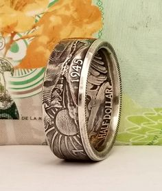 Walking Liberty Silver Half Dollar Coin Ring Dollar Usa, Dollar Coin, Half Dollar, Coin Ring, Jfk, Silver Coins, Beautiful Rings, Leather Handbags, Liberty