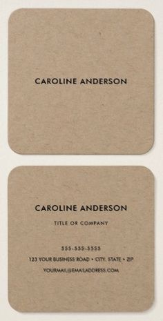 Square professional business cards or personal profile cards in rustic craft paper business cards square simple yet elegant design with rounded corners colourmoves