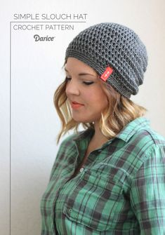 This simple slouch crochet hat pattern is a great pattern for beginners  simple enough that a more experienced crocheter could whip up it up in no time!