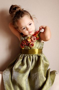Amazing girls dress embellished with silk roses
