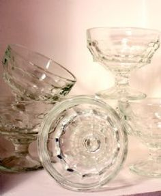 Image detail for -vintage ice cream glasses x6 lovely set of 6 clear glass ice cream ...