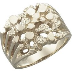 14k White Gold Nugget Ring Size 9.75 - http://www.bigstufblog.com/14k-white-gold-nugget-ring-size-9-75/