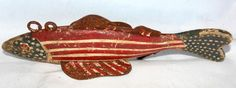 Vintage Fish decoy Red White and Blue circa 1980 New Hampshire Fork Art, Wooden Products, Art Through The Ages, Colonial Furniture, Blue Palette, Duck Decoys, Primitive Folk Art, Patriotic Decorations, Painted Boxes
