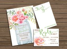 Wedding Invitation with Pink Roses and Mason Jar